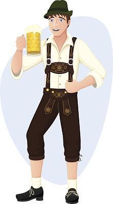 啤酒节,男人,皮短裤,幸福,快乐,绘画插图,人,卡通,男性,仅成年人
