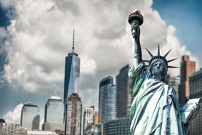 自由女神像,都市风景,下曼哈顿区,办公室,纪念碑,水平画幅,无人,早晨,户外,自由