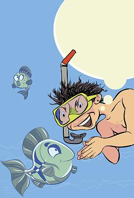 幸福,潜水镜,垂直画幅,水,绘画插图,水下,夏天,卡通,男性