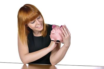 小猪扑满,女人,拿着,美,留白,储蓄,水平画幅,银行,美人,白人