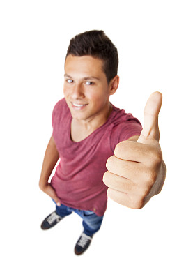 青少年,翘起大拇指,标志,男性,摹嬉士,鱼眼镜头,垂直画幅,美,注视镜头,高视角