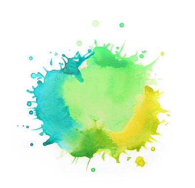 黄色,绿色,蓝色,白色背景,水彩画,色板,墨水,笔触,水彩画颜料,涂料
