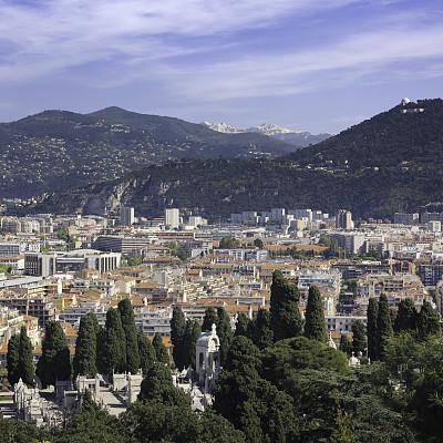 城市,尼斯,滨海阿尔卑斯,旅游目的地,高视角,地形,山,无人,建筑外部,户外