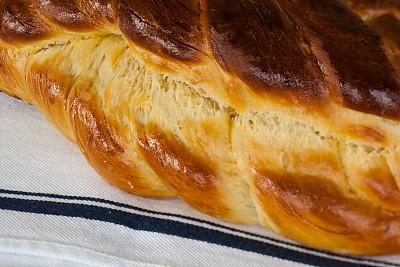 犹太教白面包,面包,清新,微距,犹太安息日,希伯来文,灵性,褐色,水平画幅,无人