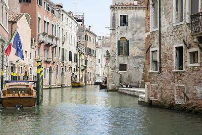 威尼斯,水,威尼托大区,水平画幅,无人,运河,古老的,旅行者,夏天,乡村风格