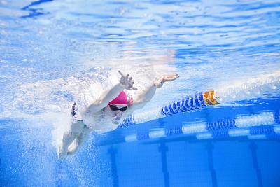 游泳池,迅速,浅水泳池,泳道,蝶泳,游泳帽,游泳护目镜,水,留白,努力