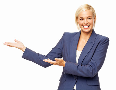 女商人,幸福,白色背景,正面视角,留白,半身像,四肢,套装,仅成年人,青年人