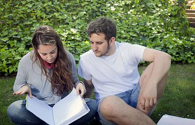 知识,派克大街,坐在地上,青少年,休闲活动,草,男性,培训课,青年人,书