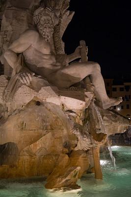 四河喷泉,罗马,雕像,纳沃纳广场,饮水喷泉,垂直画幅,水,美,艺术,夜晚