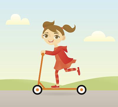 手推脚踏车,女孩,幸福,褐色眼睛,绘画插图,全身像,棕色头发,人,户外,发辫
