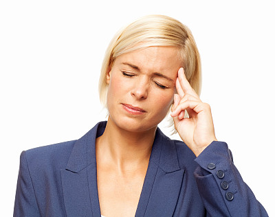 头痛,痛苦,女商人,压力,正面视角,留白,套装,仅成年人,疲劳的,青年人