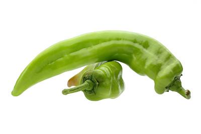 椒类食物,辣椒,白色,分离着色,绿胡椒子,绿辣椒,留白,水平画幅,素食,无人