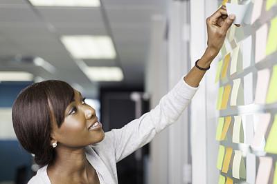 便签,贴标签,女商人,非洲,玻璃,墙,办公室,商务策略,领导能力,灵感