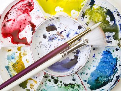 调色板,画笔,多色的,水彩画,艺术家,艺术,水平画幅,无人,手艺,正上方视角