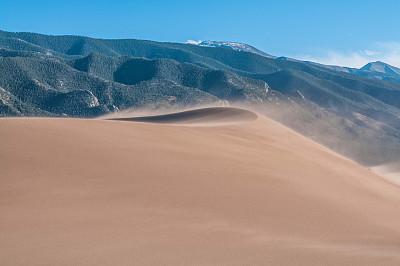 沙丘,沙尘暴,天空,褐色,风,水平画幅,纹理效果,山,沙子,无人