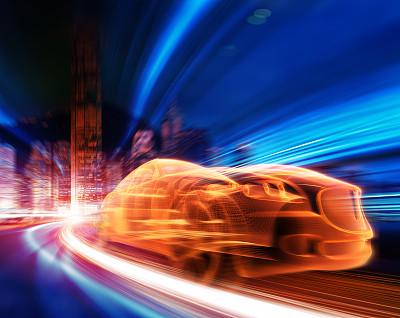 跑车,公路,迅速,城市生活,未来,夜晚,市区路,图像,摩托车赛,现代