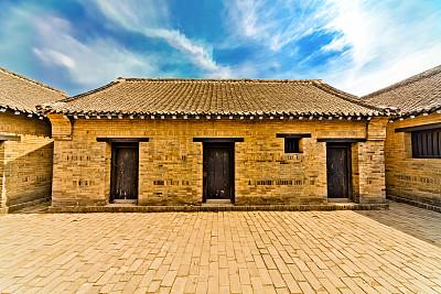 房屋,北京,传统,屋檐,天空,水平画幅,纹理效果,墙,无人,砖墙