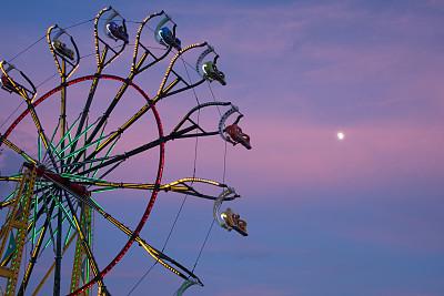 摩天轮,黄昏,艾许维尔,游乐园,行星月亮,水平画幅,无人,月亮,曙暮光,户外
