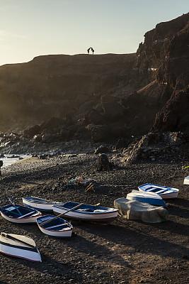加那利群岛,西班牙,兰萨罗特岛,渔船,棕褐色调,垂直画幅,水,留白,火山地形,大西洋