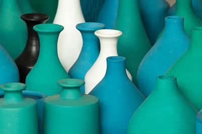 花瓶,绿色,蓝色,黑白图片,艺术,水平画幅,无人,石材,特写,石头