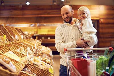 商品,学龄前,顾客,购物车,男性,面包,青年人,单亲父亲,休闲正装,青年男人