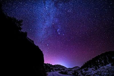 银河系,星系,夜晚,山脉,仙女座星系,天空,留白,水平画幅,无人,户外
