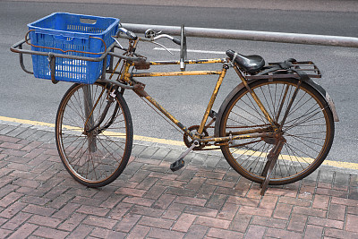 传统,户外,无人,古老的,盒子,水平画幅,自行车,脚踏车,中等数量物体,公共交通