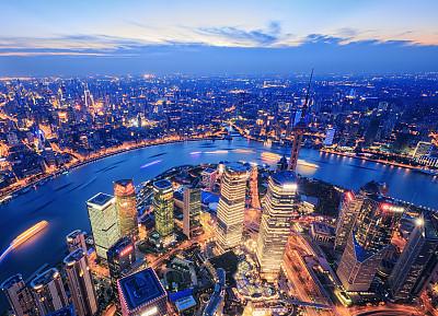 上海,金茂大厦,黄浦江,东方明珠塔,霓虹色,水,天空,未来,高视角,都市风景