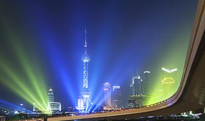 夜晚,上海,金茂大厦,东方明珠塔,外滩,浦东,天空,度假胜地,水平画幅,无人