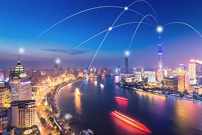 技术,计算机网络,上海,上海环球金融中心,东方明珠塔,霓虹色,天空,留白,未来,高视角
