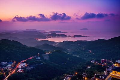 九份,茶馆,水平画幅,山,夜晚,无人,曙暮光,户外,都市风景,著名景点