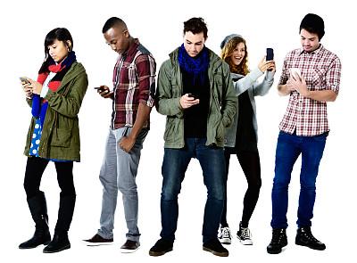 电话机,忙碌,手机,歇斯底里,五个物体,露脐裤,全部,不理的,选择对焦,青少年