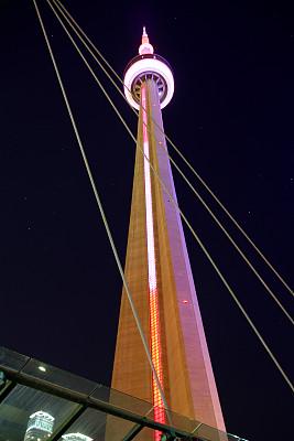 尖的,多伦多电视塔,安大略湖,多伦多,垂直画幅,天空,新的,夜晚,无人,曙暮光