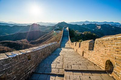 长城,天空,水平画幅,墙,无人,古老的,古典式,夏天,户外,要塞