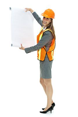 建筑,蓝图,拿着,质检人员,垂直画幅,30到39岁,建筑承包商,注视镜头,高跟鞋,白人