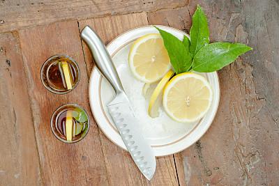 柠檬,冰桶,冰茶,饮食,茶树,宁静,休闲活动,水平画幅,无人,硬木地板