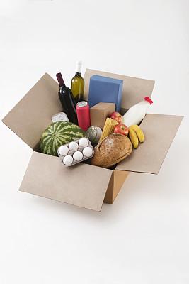 食品,牛皮纸,纸箱,垂直画幅,食品杂货,素食,板条箱,超级市场,商店,面包