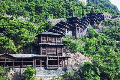 山,廊柱,长江三峡,自然,台阶,古董,水平画幅,地形,建筑,无人