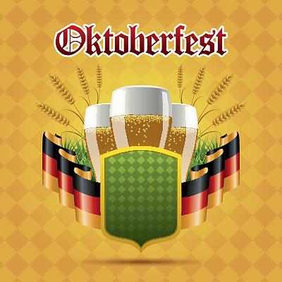 啤酒节,无人,绘画插图,欧洲,含酒精饮料,饮料,矢量,德国,啤酒,聚会