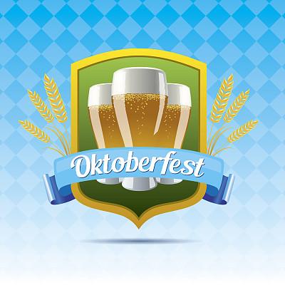 啤酒节,标签,无人,绘画插图,欧洲,含酒精饮料,饮料,矢量,德国,啤酒