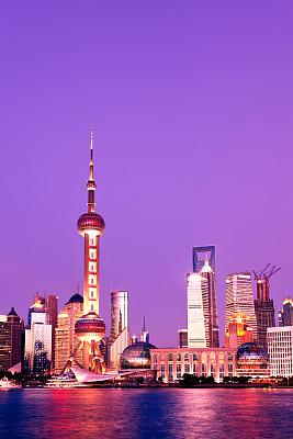 浦东,夜晚,上海,东方明珠塔,外滩,垂直画幅,未来,无人,东亚,户外