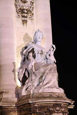 夜晚,高雅,俄罗斯亚历山大三世,alexander the great,亚历山大三世桥,莱斯恩范李德斯城区,塞纳河,垂直画幅,纪念碑,无人