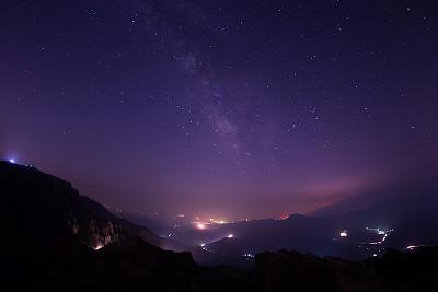 银河系,星系,天空,太空,水平画幅,山,夜晚,无人,星云,城市