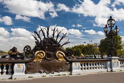 亚历山大三世桥,巴黎,泰晤士河河堤,莱斯恩范李德斯城区,新艺术主义,香榭丽舍区,塞纳河,纪念碑,当地著名景点