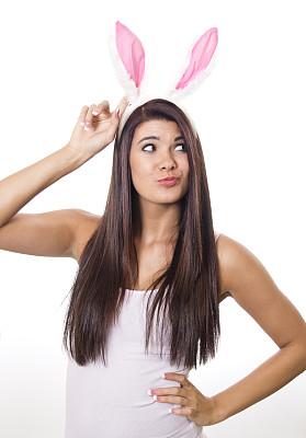 复活节,鬼,兔子装,兔耳朵仙人掌,束发带,人的耳朵,垂直画幅,美,人造的,彩妆