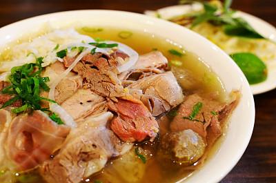 汤,面条,越南粉,牛胸肉,肌腱,面汤,豆芽,葱,水平画幅,生食