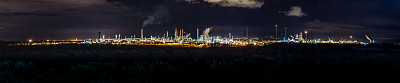 精炼厂,石油化工厂,石油工业,夜晚,全景,西班牙,蒸馏酒厂,化工厂,工厂,烟囱