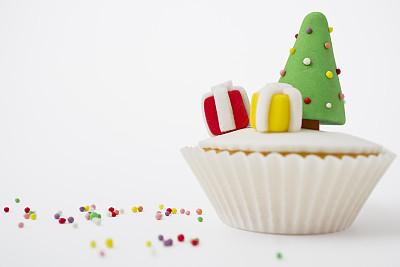 圣诞树,纸杯蛋糕,饮食,水平画幅,绿色,无人,蛋糕,甜点心,甜食