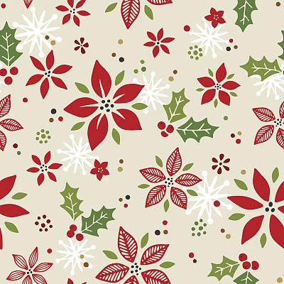 式样,圣诞包装纸,猩猩木,四方连续纹样,包装纸,绘画插图,乱画,无人,古典式
