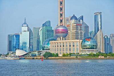 陆家嘴,浦东,上海,东方明珠塔,外滩,水,天空,水平画幅,无人,黄浦江